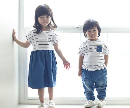 子供ブルー赤ちゃんショートTシャツ_16B05K