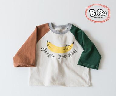 """<font color=""""ffffff"""">[家族長袖のT&ファミリールック] <br></font>バナナラグランティーシャツ19S54 /子供服、子供服、キッズルック"""