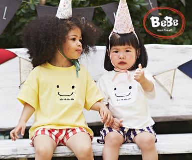 """<font color=""""ffffff"""">[家族ショートTシャツティー&ファミリールック] <br></font>ほほ笑ショートTシャツ子供19B06 /子供服、子供服、キッズルック"""