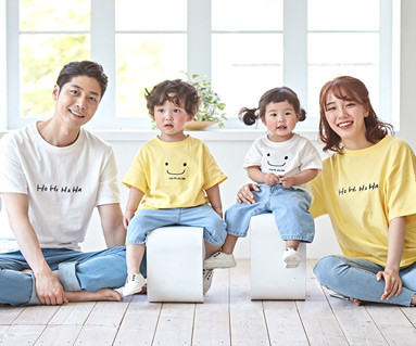 """<font color=""""ffffff"""">[家族ショートTシャツティー&家族ルック] <br></font>家族ほほ笑ショートTシャツ19B06 /家族ルック、家族ティー"""