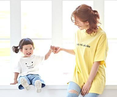 """<font color=""""ffffff"""">[家族ショートTシャツティー&ファミリールック] <br></font>ほほ笑ママと赤ちゃんショートTシャツ_19B06"""