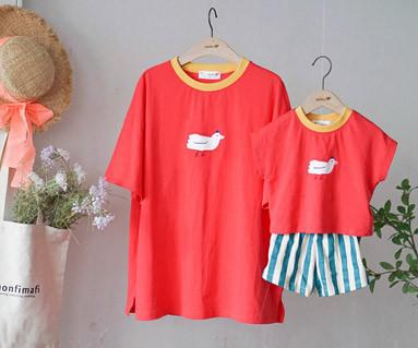 """<font color=""""ffffff"""">[家族ショートTシャツティー・ファミリールック] <br></font>飛べバードティーママと赤ちゃんショートTシャツ_19B16"""