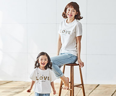 """<font color=""""ffffff"""">[家族ショートTシャツティー&ファミリールック] <br></font>ナチュラルラブママと赤ちゃんショートTシャツ_18B02"""