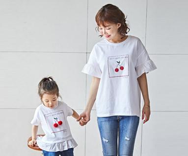 "<font color=""ffffff"">[家族ショートTシャツティー&ファミリールック] <br></font>チェリーココママと赤ちゃんショートTシャツ_18B16"