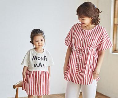 """<font color=""""ffffff"""">[家族ショートTシャツティー&ファミリールック] <br></font>レッドマンゴーママと赤ちゃんショートTシャツ_18B18"""