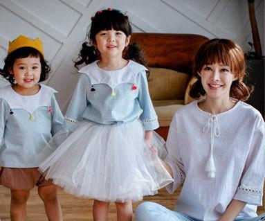"""<font color=""""ffffff"""">[家族ショートTシャツティー&ファミリールック] <br></font>タッセル装飾ママと赤ちゃんショートTシャツ_17B01"""