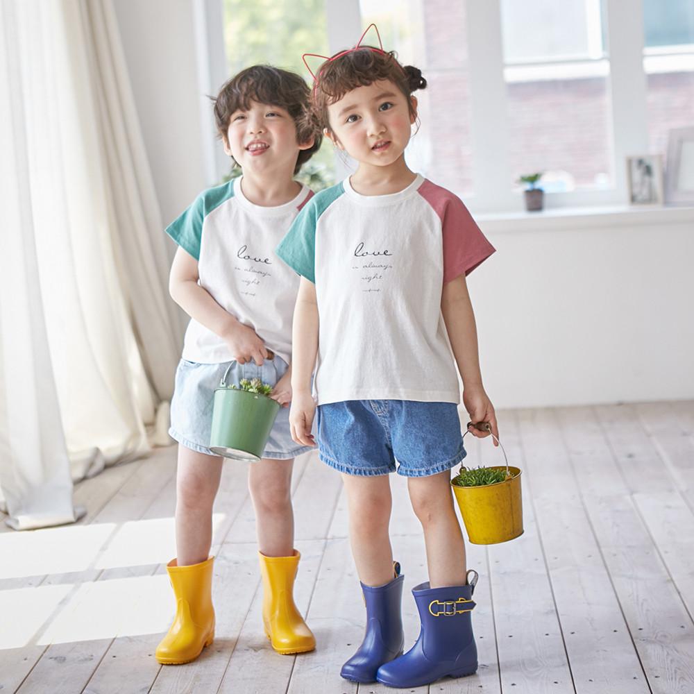 配色ラブショートTシャツ子供21B02K /ファミリールック、家族の写真の衣装